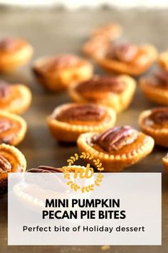 These bite size pies are great for the holiday parties. Delicious mix of a pumpkin and a Pecan Pie. #Pie #Pecan #Pumpkin #Mini #PerfectBite #Holiday Dessert Pumpkin Pecan Pie, Mini Pumpkin Pies, Mini Pumpkins, Mini Pies, Holiday Desserts, Holiday Parties, Pie Flavors, Pie Pie, Dessert Buffet