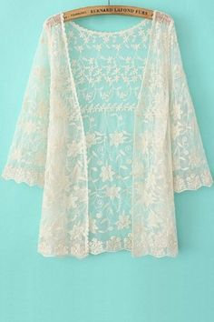 Beige Lace Floral Kimono  Cover-up   Easy returns to the US! 2b5412732b77