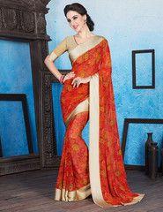 Orange Color Georgette Casual Wear Sarees : Manvika Collection  YF-41097