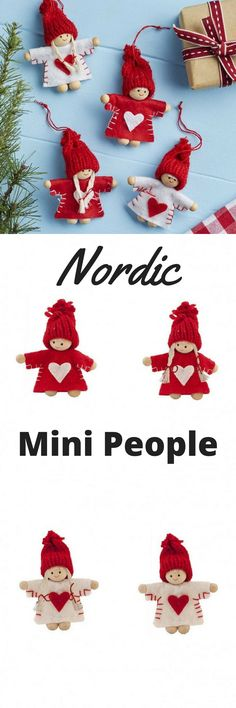 Cute little Nordic Mini People - Christmas tree ornaments. http://shopstyle.it/l/pVzz Tempted to get enough of these to string into a garland over the mantelpiece. #etsy #affiliate #handmade