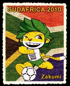 La Copa Mundial de Fútbol Sudáfrica 2010 tuvo como mascota a Zacumi, un leopardo africano con cabello verde. Su indumentaria se compone de una casaca blanca y pantaloncillos del mismo color que su cabello. En la playera se lee South Africa 2010. Siempre se le mira acompañado de un balón de fútbol soccer. World Cup Logo, Manchester United Football, Football Players, Fifa, South Africa, History, Fictional Characters, Cute Mugs, Random Things