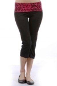 7381963983 Capri Yoga Pants with Black & Fuchsia (Hot Pink) Cheetah Printed Fold Over  Waist