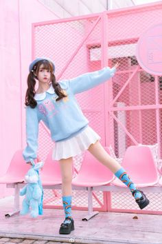 Harajuku lolita teddy bear sweater - pastelloves - - Color : blueMaterial: CottonSize: S, MS: Length bust: sleeve length: Length Bust: Sleeve Length: Mode Harajuku, Harajuku Fashion, Lolita Fashion, Harajuku Clothing, Harajuku Style, Harajuku Girls, Pastel Fashion, Cute Fashion, Asian Fashion