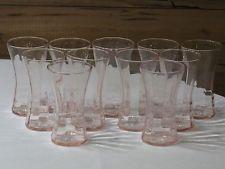 Set of 11 vintage Pink Depression Glass 8 Oz. Tumblers MINT Unmarked