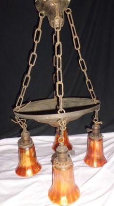 4 Light Brass Embossed Nouveau Fixture Chandelier Carnival Art Glass Shades