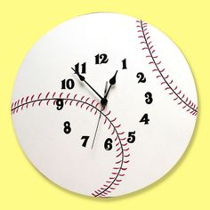 Trend Lab Baseball Wall Clock, Multicolor