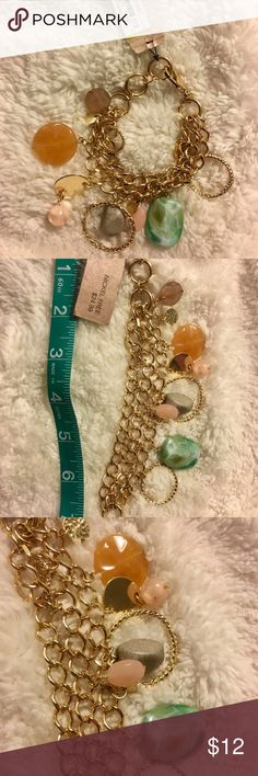 Gold charm bracelet Gold chain bracelet with beautiful dangling gems. Open to offers. Earrings in separate listing. Jewelry Bracelets