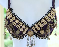 Purple Passion, Belly dance bra 34C, Tribal, OOAK, made in USA. $70.00, via Etsy.