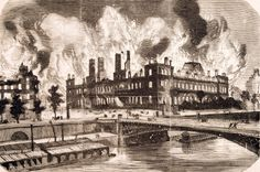 The fire at Paris City Hall May 24 1871 during the Commune France 19th century