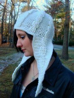 Cable Long Ear Flap Hat Crochet Pattern 399 by SandysCapeCodOrig, $3.95