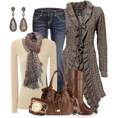 Autumn Colors Ruffled Cardigan created by smores1165 on Polyvore - Vennie Fashion Online
