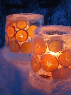 Burgundy & lavender colors?? Ice lanterns with citrus slices