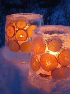 Ice lanterns with citrus slices