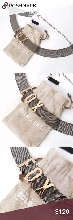 """➡NWT Stone Cold Fox Foxy Belt⬅ Thick woven chain belt with stationary """"FOX"""" metal letters in front. Plated silver ox and rose gold letters. Wear over your dresses, maxis, pants, jeans and bikinis for an instant hottie look. New with tags and it comes in its dust bag.  30"""" long with 11"""" of extender chain.  1.5"""" thick. Stone Cold Fox Accessories Belts"""