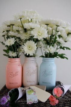 Australia wedding Mason Jars pastel table centre piece flower vases