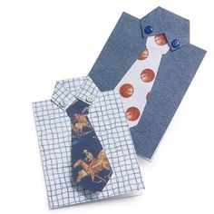 Father's Day cards, easy to make with toddlers.  Instead of using pre-designed scrapbook paper, have one toddler fingerpaint the shirt, while the other fingerpaints the tie using posterboard paper, construction paper or heavy weight printer paper.