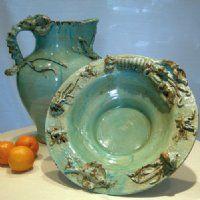 From Fortunata, these Mediterraneo design Italian ceramics features a soft aqua color in ocean motifs.