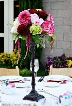 Flowers, Reception, Pink, Centerpiece, White, Red, Wedding, Black, The, Tall, Vineyard, Stylish, The stylish soiree, Maroon, Soiree