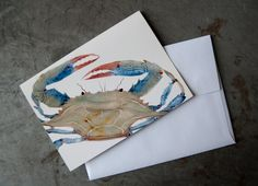 Crab Greeting Card  Sea Creature Art Note Card by PatWarwickTiles, $3.50