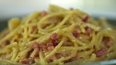 As his own mother says, when it comes to spaghetti carbonara Fabio does it best. Pancetta, cream and eggs are frothed to perfection to make a masterpiece sauce for easy noodles in less than 10 minutes. He also shares other easy ways to dress up spaghetti on a dime.