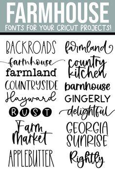 Cool Fonts, Fun Fonts, Cricut Tutorials, Cricut Ideas, Farmhouse Font, Cricut Craft Room, Silhouette Cameo Projects, Cricut Creations, Vinyl Projects