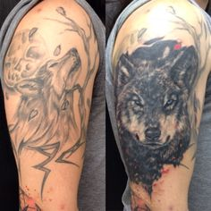 Wolf cover up tattoo in progress Portafolio Andres Valenzuela Bogotá - Colombia