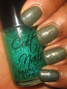 Interesting layering. Cult Nails In A Trance, an olive green with gold shimmer, and Hypnotize Me, a teal glitter