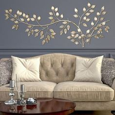 Wall Decor For Home branches at sunrise leaf metal wall sculpture | metal wall