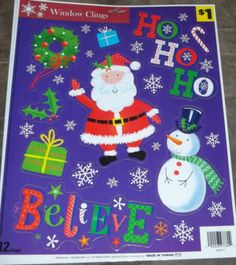 Lot 24 New Sheets Christmas Window Clings Gingerbread Men Santa Snowflakes More   eBay $9.99