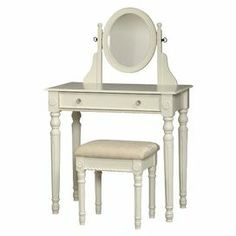 """2-piece vanity set in white. Includes a 1-drawer console with an adjustable mirror and matching cushioned stool.  Product: Vanity and stoolConstruction Material: MDF, wood, mirrored glass and fabricColor: White and ivoryFeatures:   Adjustable mirror   Plush and padded stool   Spindle legsDimensions: 49"""" H x 32"""" W x 18.3"""" D (vanity)  Note: Some assembly required"""