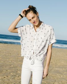 the getaway shop: madewell short-sleeve tie-front shirt.
