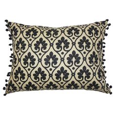 Bring a pop of pattern to your sofa or arm chair with this lovely cotton pillow, showcasing a fleur-de-lis motif. Made in the USA.  ...