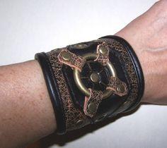 Darkwear Steampunk Leather Captains Wrist Cuff 7- 71/2in