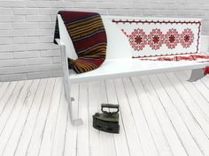 Bench with traditional motifs from Moldavia, made of perforated sheet. The traditional motifs are hand-sewn with wool. Steel Sheet, Steel Furniture, Hand Sewing, Bench, Kids Rugs, Traditional, Blanket, Metal, Creative