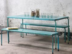 Scaramanga is very pleased to offer this gorgeous vintage metal table and twin metal bench set as a single package. Imagine this colourful set in your summer garden or perhaps as an innovative contemporary dining table with seating. #vintage #homedecor #kitchendecor #diningtable #furnituresale Distressed Furniture, Retro Furniture, Cheap Furniture, Furniture Sale, Garden Furniture, Retro Desk, Metal Desks, Table And Bench Set, Table Desk