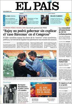 Los Titulares y Portadas de Noticias Destacadas Españolas del 21 de Julio de 2013 del Diario El País ¿Que le pareció esta Portada de este Diario Español?