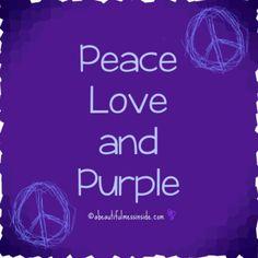 ➳➳➳☮American Hippie Art - Peace Love Purple