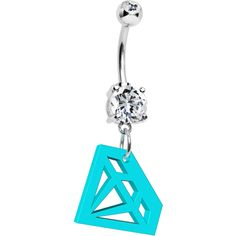 Turquoise Acrylic Diamond Cutout Belly Ring | Body Candy Body Jewelry #bodycandy