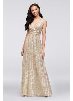Sequin V-Neck Bridesmaid Dress with Satin Piping F19787