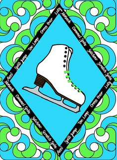 Figure Skate with Skate Moves Art Print Style 3- In your choice of 4 styles- Or choose your own custom color-11 x 14 in - pinned by pin4etsy.com