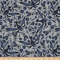 Cotton + Steel S.S. Bluebird Sailor Ink Birds Blue from @fabricdotcom  Designed by Melody Miller and Sarah Watts for Cotton + Steel, this fabric, printed on unbleached cotton, features birds soaring high above with abstract floral designs below. Perfect for quilting, apparel and home decor accents. Colors include black, white, grey and shades of blue.