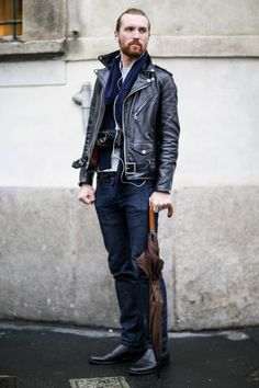 http://chicerman.com  ethan-green:  Cause this leather biker jacket gets all the job done!  #streetstyleformen