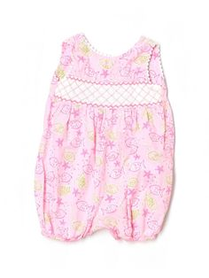 Baby Girl Lilly Pulitzer Pink Blowing Bubbles Fish Romper Size 12/18 Months #LillyPulitzer #Everyday