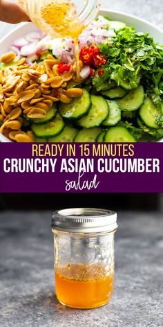 This crunchy Asian cucumber salad is cool, refreshing and perfect for summer! Simple to prepare and made with fresh cucumber, cilantro and shallots tossed in a rice wine vinaigrette, it's a great way to cool down in the heat. #sweetpeasandsaffron #salad #vegan #glutenfree #paleo #dairyfree #vegetarian #summer #refreshing Amazing Vegetarian Recipes, Vegan Recipes Easy, Veggie Recipes, Cooking Recipes, Healthy Low Carb Recipes, Dairy Free Recipes, Healthy Foods To Eat, Gluten Free, Vegetarian Meal Prep