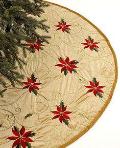 "Holiday Lane Christmas Tree Skirt, Gold 48"" Poinsettia Embroidered - Stockings & Tree Skirts - Holiday Lane - Macy's"