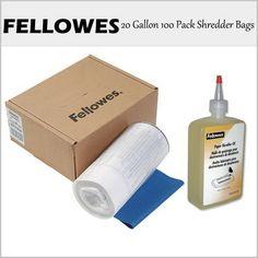 This special kit bundle provides: 1 Fellowes 36053 20 Gallon 100 Pack   Shredder Bags. 1 Fellowes 35250 Shred Oil 1-12OZ Bottle Lubricant Oil.
