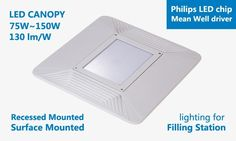 Hitecnico new LED Canopy Light IP66 available for 75W, 110W, 150W good for filling station lighting.