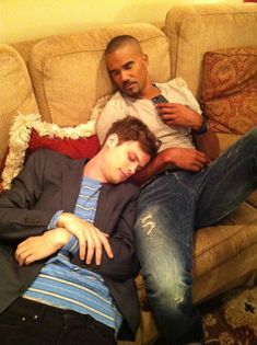 too cute - Matthew Gray Gubler and Awww. Too cute! Shemar Moore (aka Spencer Reid and Derek Morgan from Criminal Minds) asleep on couch. Dr Spencer Reid, Spencer Reed, Dr Reid, Matthew Gray Gubler, Matthew Grey, Look At You, Just For You, Cristina Rodriguez, Derek Morgan
