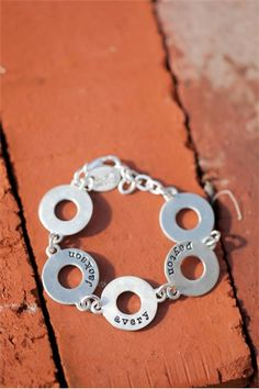 washer bracelet   Lisa Leonard Designs  (add birth dates and it would be PERFECT!)