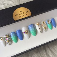 Mermaid Inspired Press On Nails Any Shape and by NailedByCristy